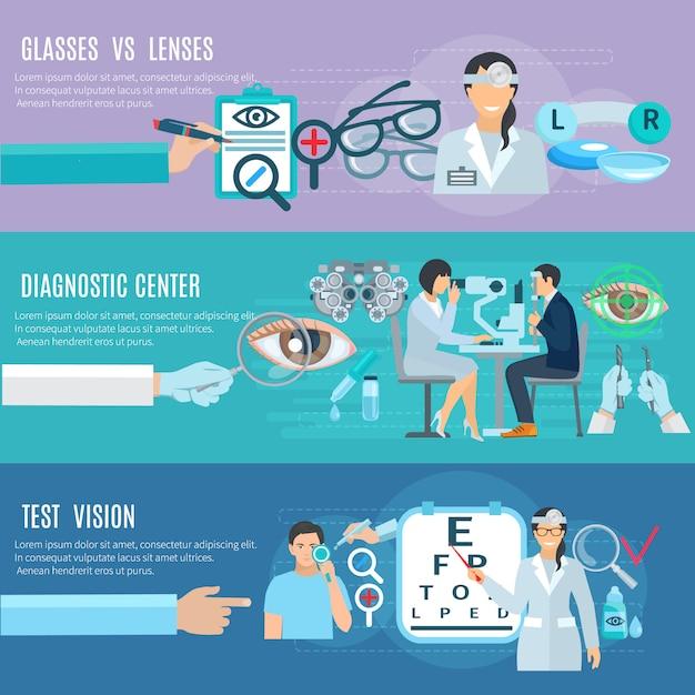 Centre de diagnostic et de traitement pour ophtalmologiste oculiste, mains longues, 3 bannières horizontales plates, ensemble abs Vecteur gratuit