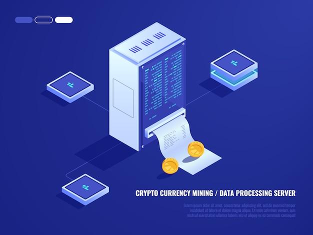 Centre de données, extraction du matériel de monnaie cryptographique, salle des serveurs, pièce de monnaie Vecteur gratuit