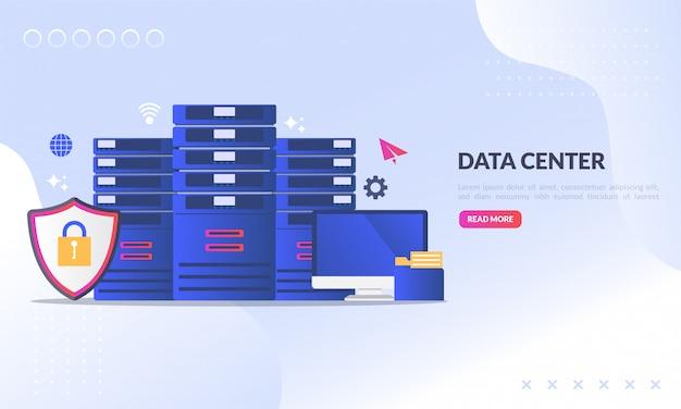 Centre de données pour la page de renvoi web Vecteur Premium