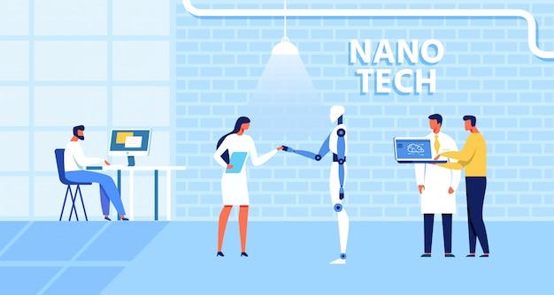 Centre de recherche nano tech sur la création d'ia Vecteur Premium