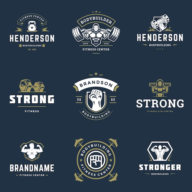 Centre De Remise En Forme Et Sport Gym Logos Et Badges Design Set Illustration Vecteur Premium