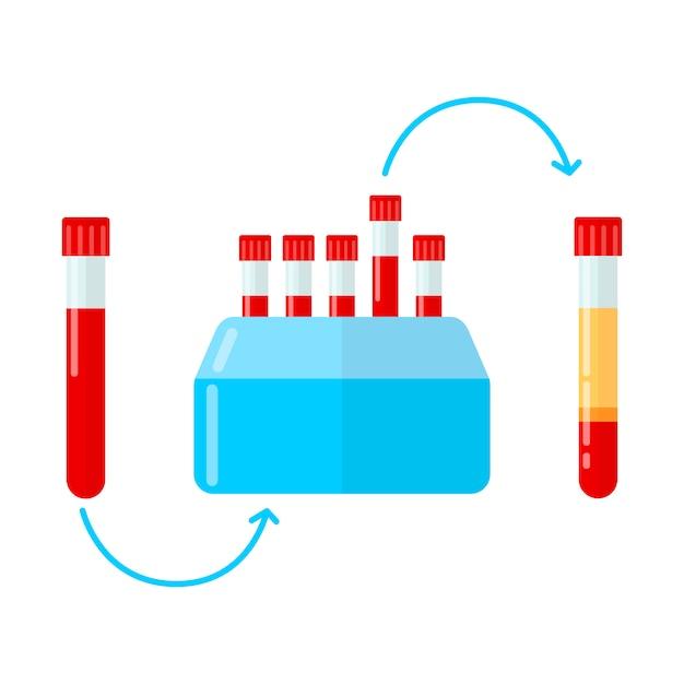 Centrifugeuse pour la fabrication de plasma en mésothérapie Vecteur Premium
