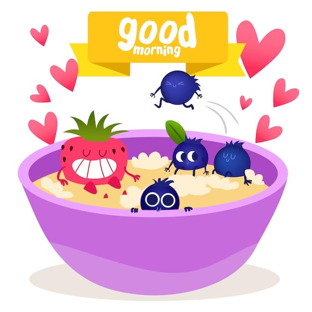 Cerals et fruit Vecteur gratuit