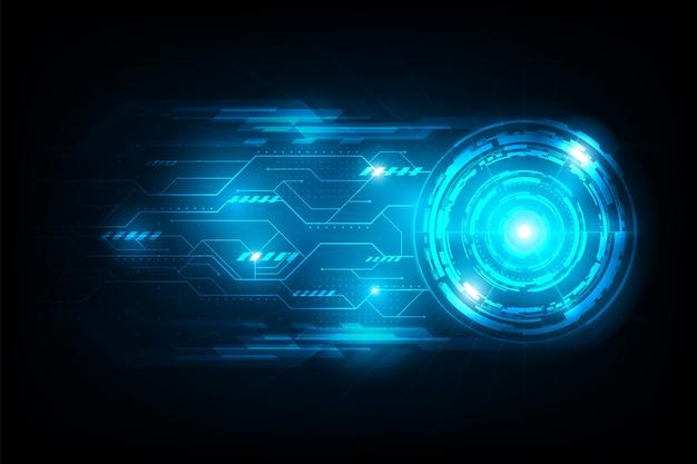 Cercle abstrait connexion futuriste avec fond de circuit de lumière flare Vecteur Premium