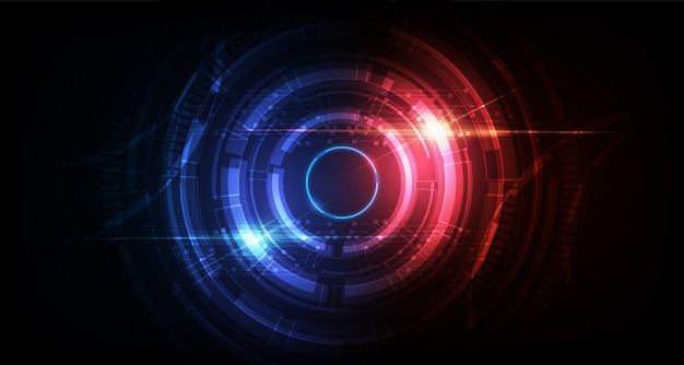 Cercle abstrait science fiction futuriste technologie innovation fond Vecteur Premium