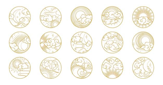 Cercle asiatique sertie de nuages, lune, soleil, étoiles. collection de vector dans le style oriental chinois, japonais, coréen Vecteur Premium