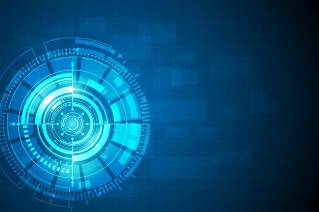 Cercle bleu abstrait technologie concept innovation Vecteur Premium