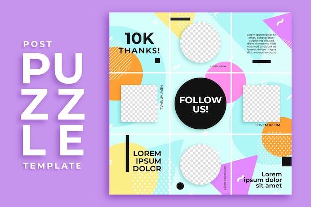 Cercle Et Carré Modèle De Flux De Puzzle Instagram Post Vecteur Premium