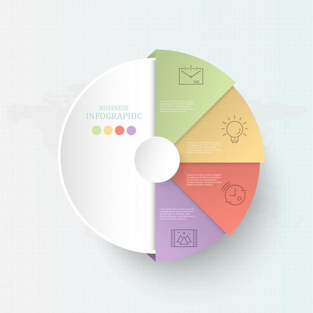 Cercle coloré 4 processus infographie pour concept d'affaires. Vecteur Premium