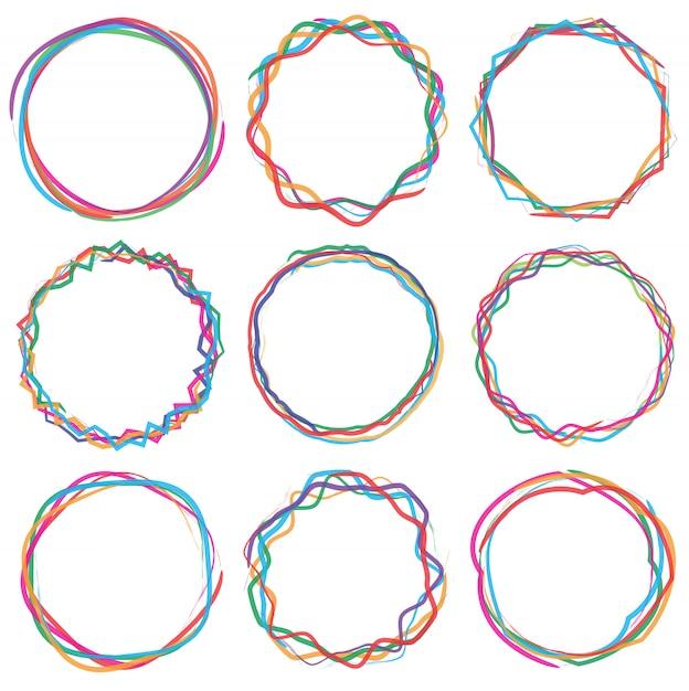 Cercle coloré texte cadre cadre ensemble Vecteur Premium