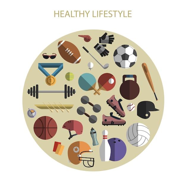 Cercle de composition accessoires sport accessoires Vecteur gratuit