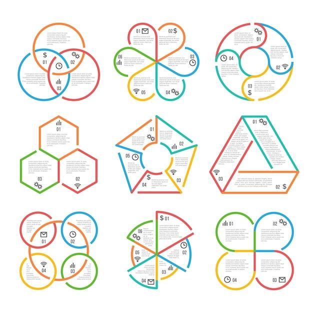 Cercle de couleur épaisse ligne, entreprise triangulaire, hexagonal, pentagonal infographie hiérarchiques graphiques diag Vecteur Premium