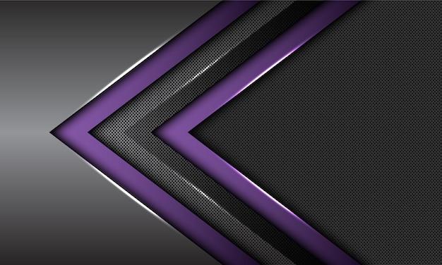 Cercle De Direction De Flèche Métallique Violet Double Gris Foncé Maille Fond Futuriste. Vecteur Premium