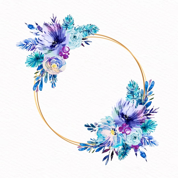 Cercle Doré Avec Fleurs D'hiver Vecteur gratuit