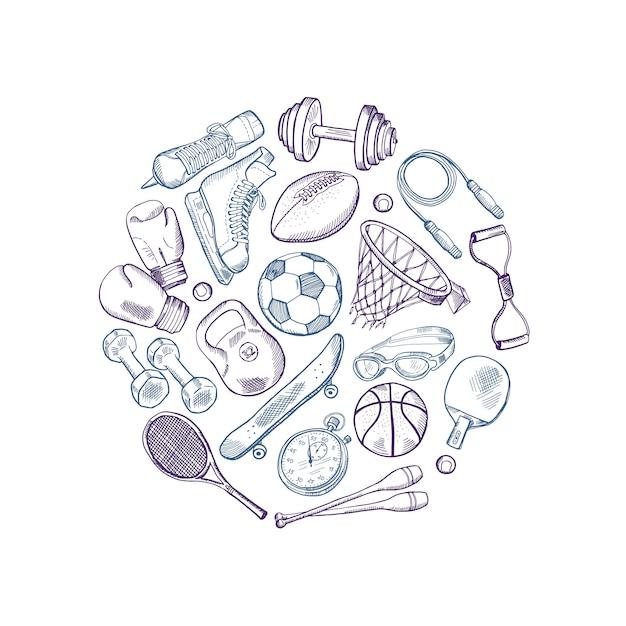 Cercle d'éléments de matériel de sport dessinés à la main Vecteur Premium