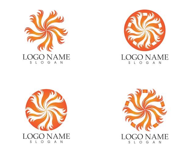 Cercle feu icône logo design vectoriel illustratiion Vecteur Premium