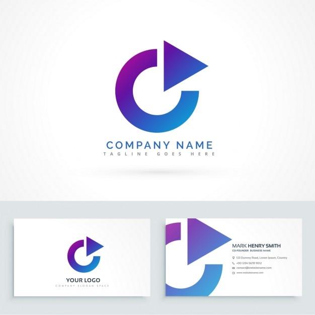 Cercle Fleche Triangle Logo Design Avec Carte De Visite