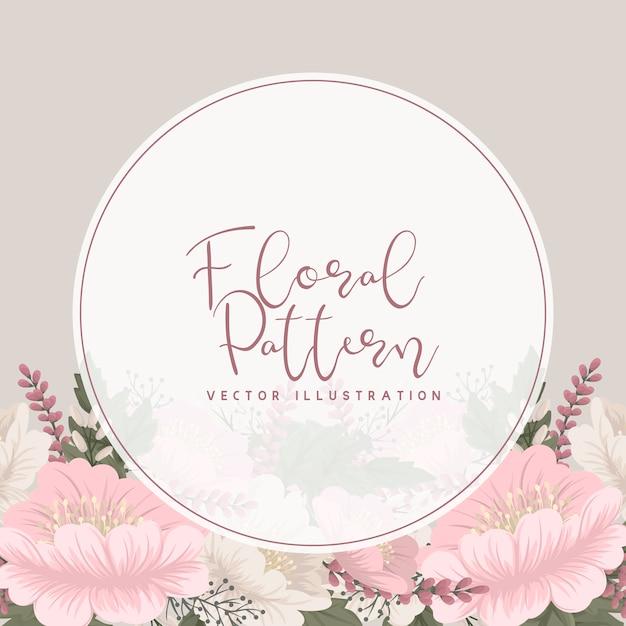 Cercle fleur floral rose Vecteur gratuit