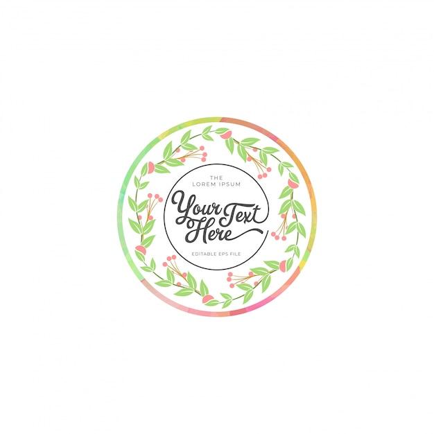 Cercle fleurs cadre Vecteur Premium