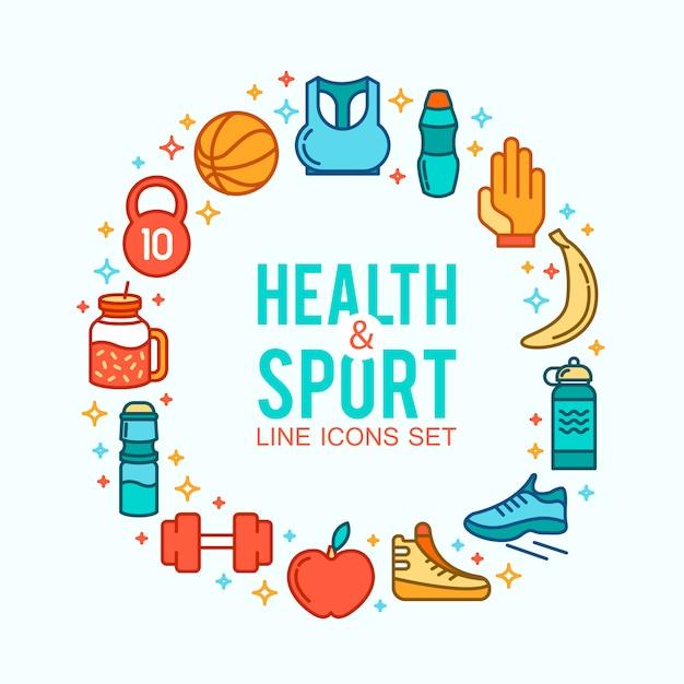Cercle d'icônes sportives. concept sportif, fond icônes jeux de sport. Vecteur gratuit