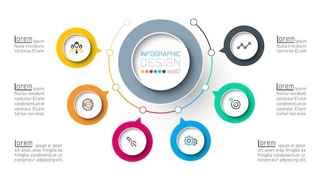 Cercle infographie étiquette avec étape par étape. Vecteur Premium