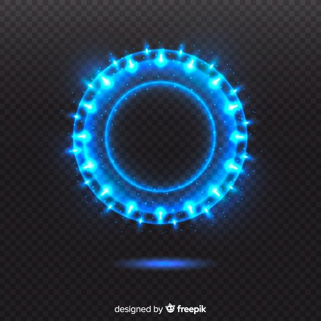 Cercle de lumière bleue sur fond transparent Vecteur gratuit