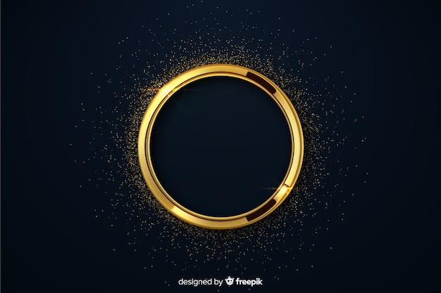 Cercle de luxe doré avec fond d'étincelles Vecteur gratuit
