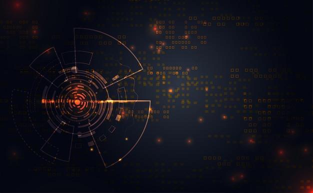 Cercle moderne technologie de connexion de la ligne d'or prime Vecteur Premium
