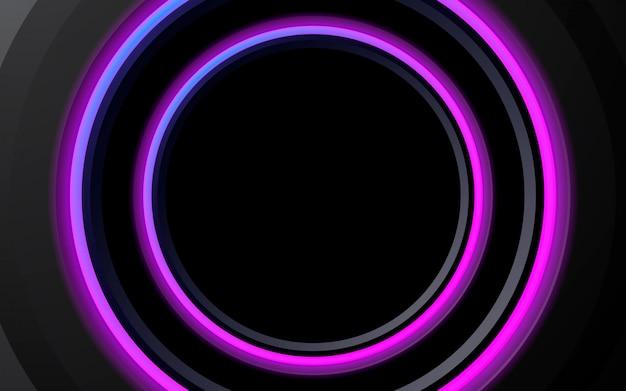 Cercle de néon abstrait de fond violet lumineux Vecteur Premium