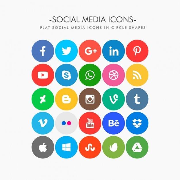 Cercle plat coloré icônes de médias sociaux pack Vecteur gratuit