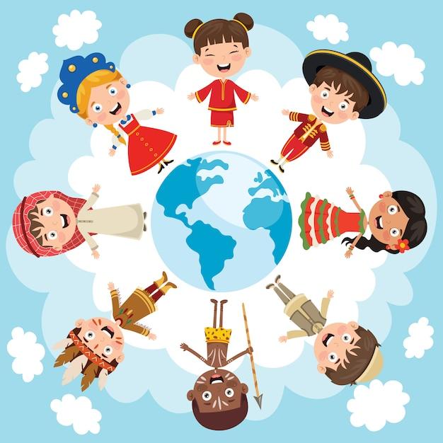 Cercle De Races Différentes D'enfants Heureux Vecteur Premium