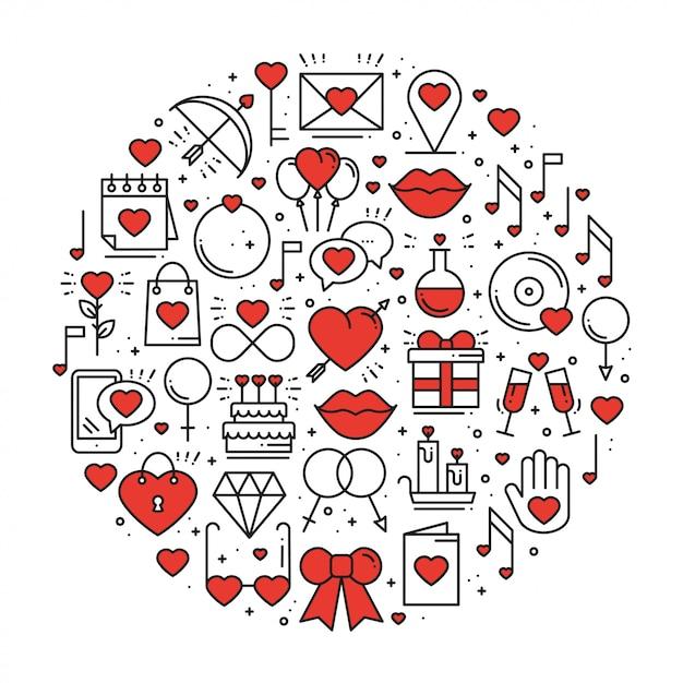 Cercle avec symboles d'amour dans le style de ligne Vecteur Premium