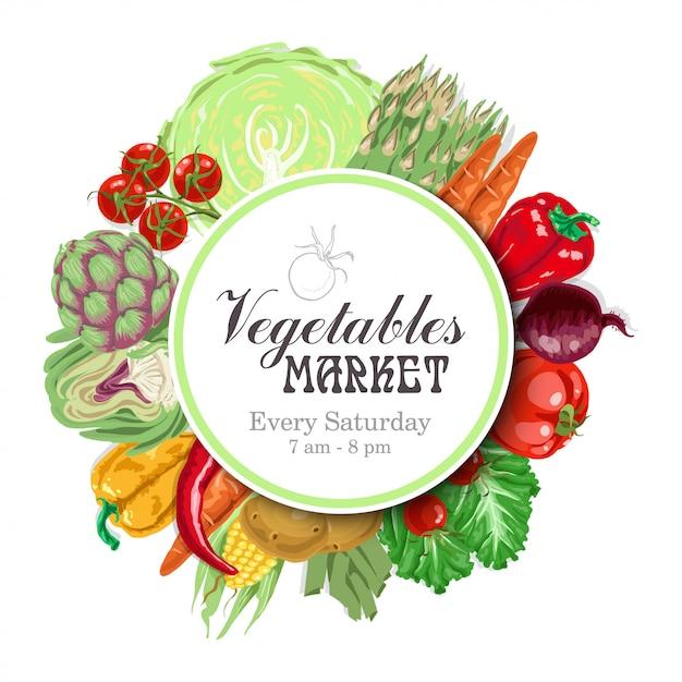Cercle de vecteur de légumes Vecteur Premium