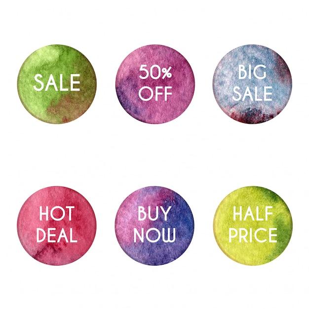 Cercles aquarelles avec thèmes de vente Vecteur Premium