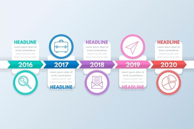 Cercles avec images et zones de texte timeline infographic Vecteur gratuit