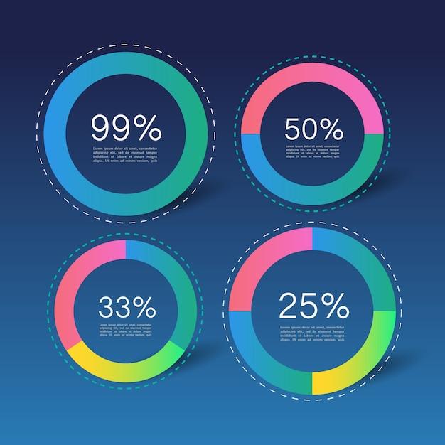 Cercles infographic avec des pourcentages Vecteur gratuit
