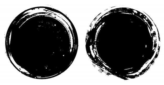 Cercles noirs en détresse Vecteur Premium