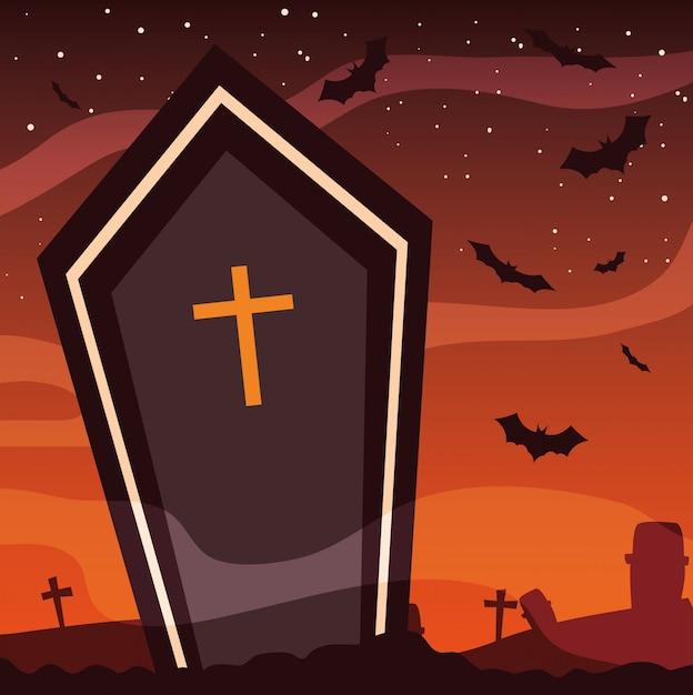 Cercueil fantasmagorique en scène d'halloween Vecteur Premium