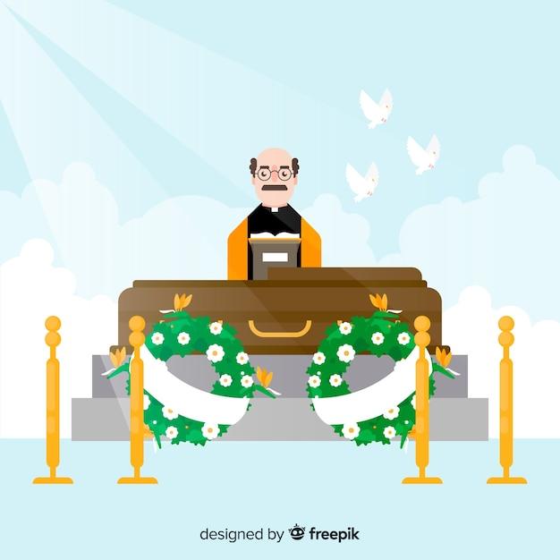 Cérémonie funéraire Vecteur gratuit