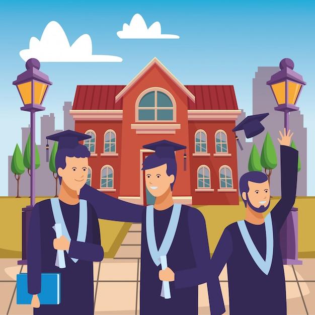 Cérémonie de remise des diplômes du campus Vecteur Premium