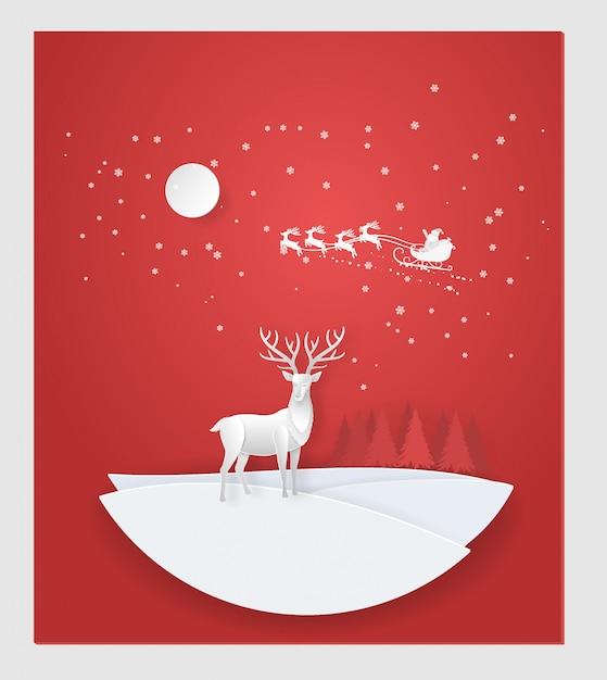 Cerf dans la forêt enneigée, le père noël en hiver. noël, nouvel an Vecteur Premium