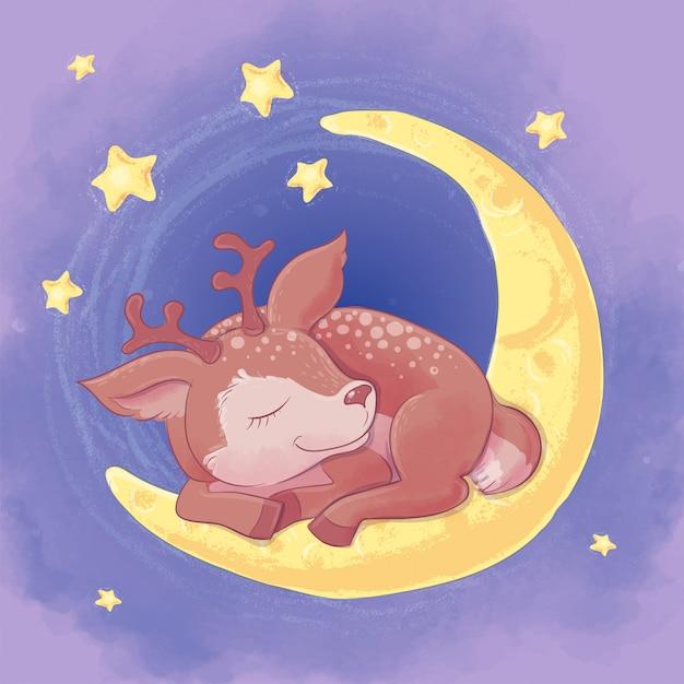 Cerf de dessin animé mignon de carte postale dormant sur la lune Vecteur Premium
