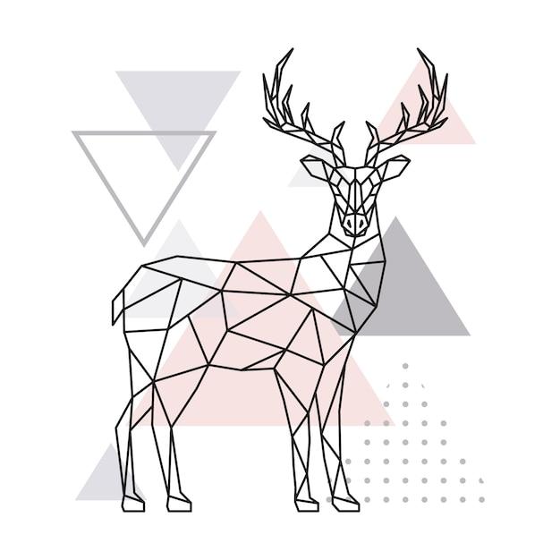 Cerf géométrique scandinave, vue de côté. Vecteur Premium