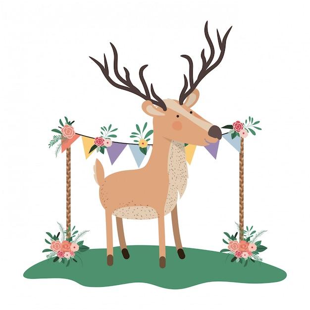 Cerf mignon et adorable avec cadre floral Vecteur Premium