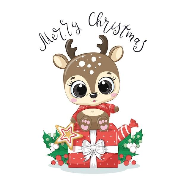 Cerf Mignon De Bébé Avec Le Cadeau De Noël Et L'expression