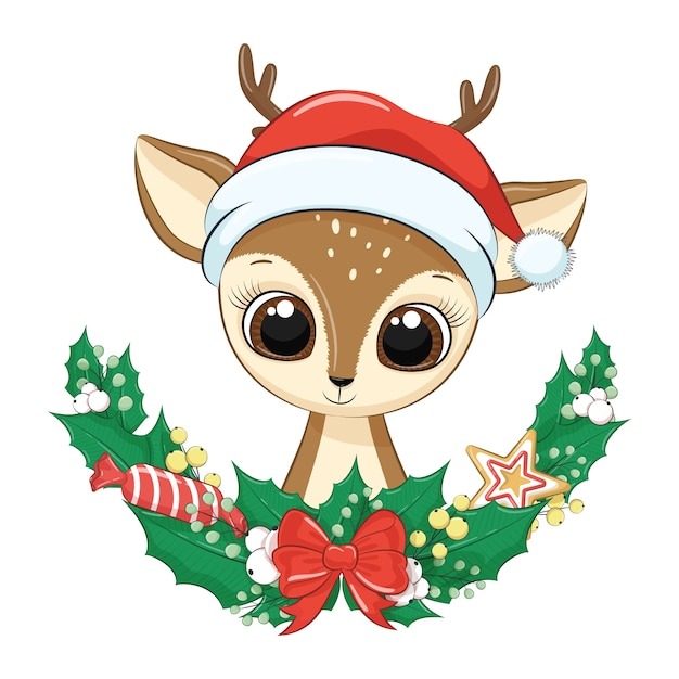 Cerf Mignon Avec Guirlande De Noël. Vecteur Premium