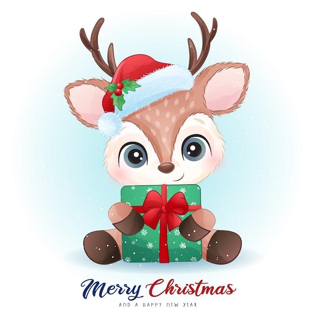 Cerf Mignon Pour Le Jour De Noël Avec Illustration Aquarelle Vecteur Premium