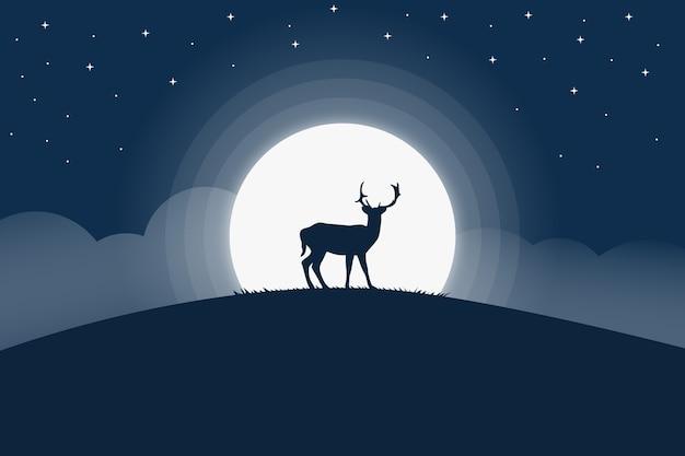 Cerf De Paysage De Nuit Décoré De Pleine Lune Vecteur Premium