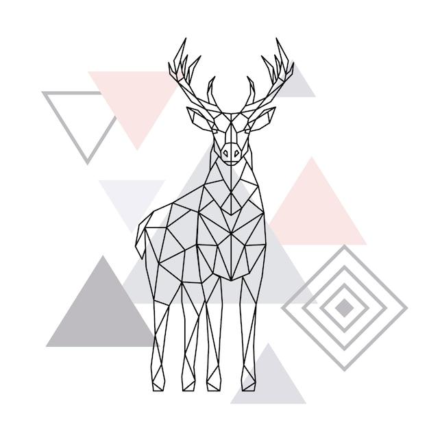 Cerf polygonale abstraite. Vecteur Premium