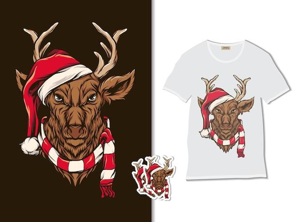 Cerf Portant Un Chapeau De Cristmas Avec Un Design De T-shirt, Dessiné à La Main Vecteur Premium